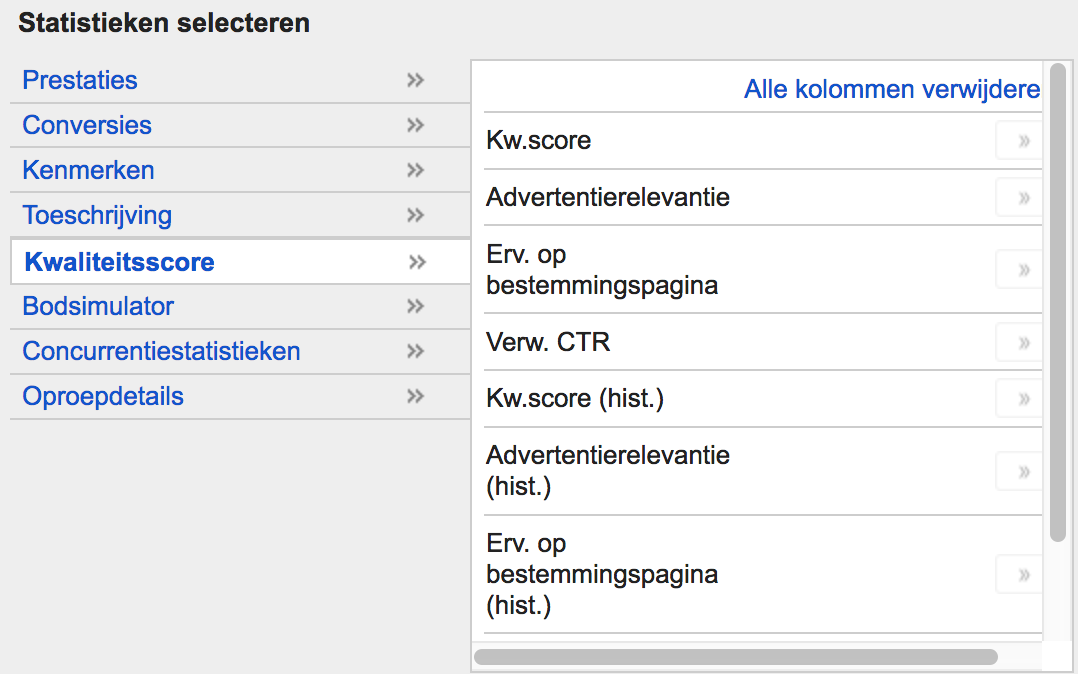 Quality Score AdWords Metric