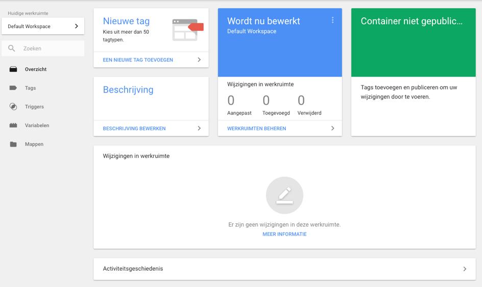 google tag manager beginscherm
