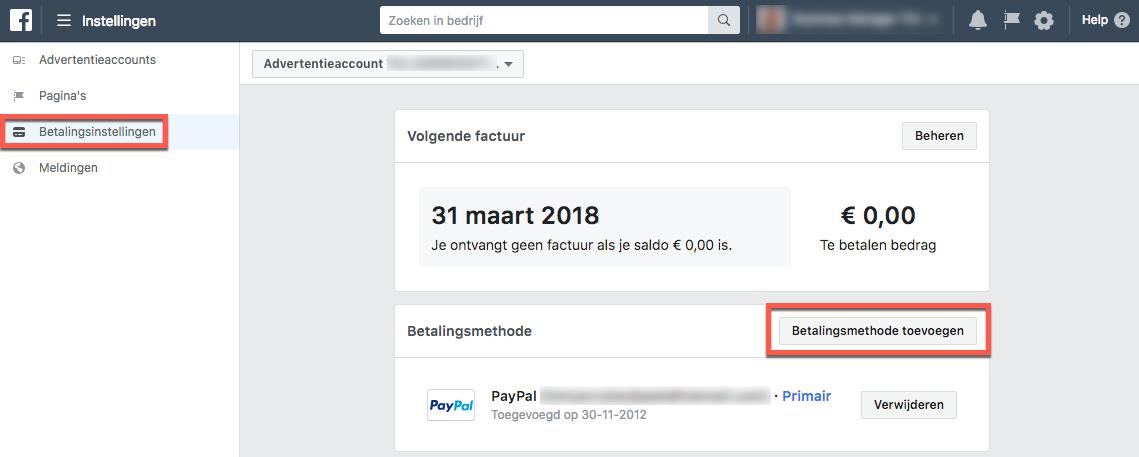 betalingsaccount facebook toevoegen