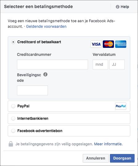 betalingskeuze facebook
