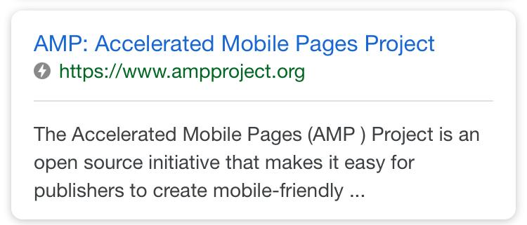 AMP in zoekresultaat Google