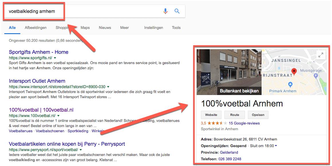 Google mijn bedrijf 100voetbal
