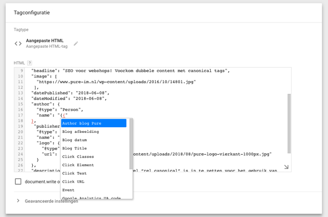 Google Tag Manager variabele in HTML