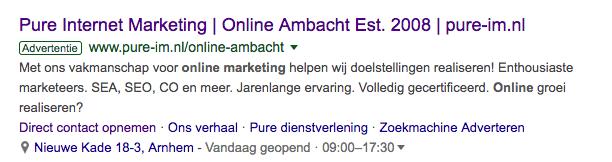 Voorbeeld locatie extensie Google Ads