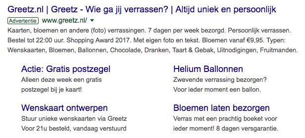 Voorbeeld slitelink extensie Google Ads
