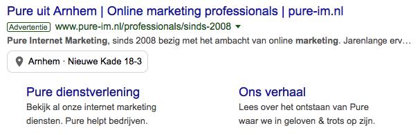 Voorbeeld Google Search advertentie