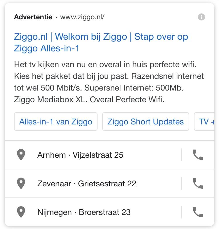 Voorbeeld oproepextensie Google Ads