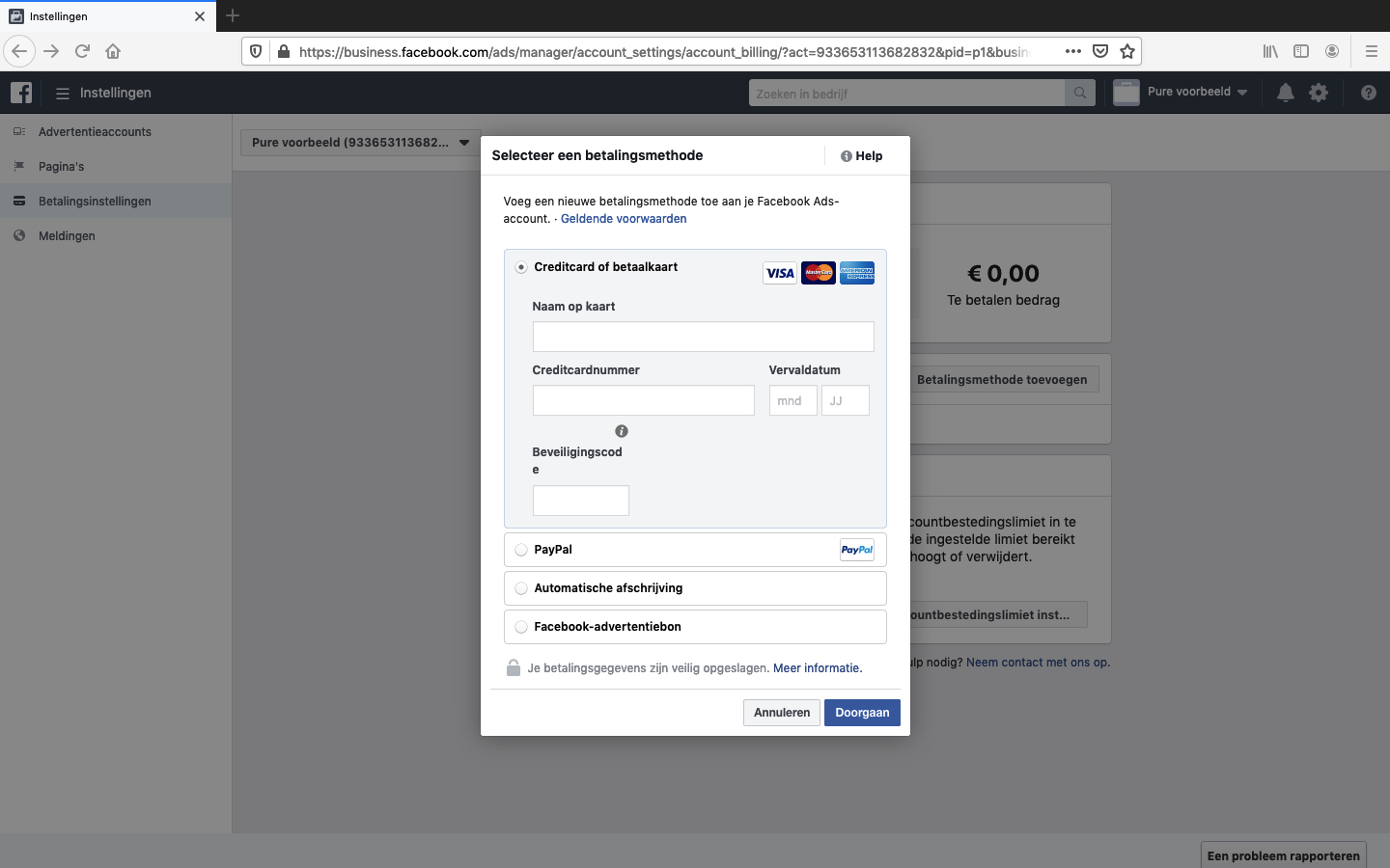 facebook advertentieaccount aanmaken stap 8