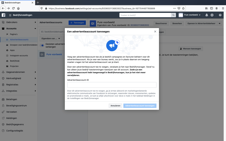 facebook advertentieaccount koppelen stap 4