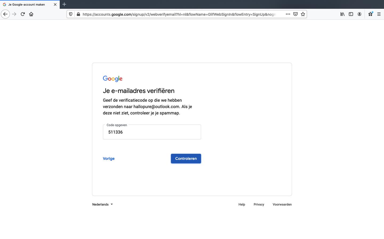 google account aanmaken stap 3