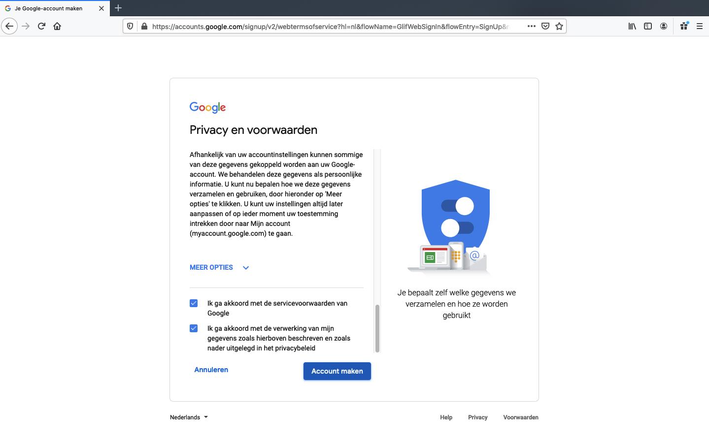 google account aanmaken stap 5