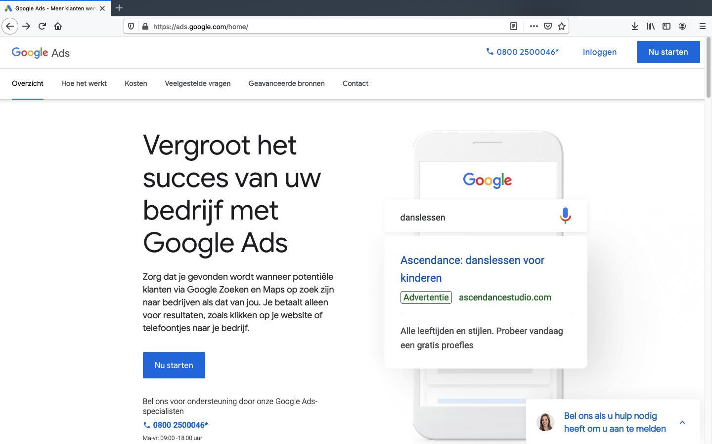 google ads account aanmaken stap 1