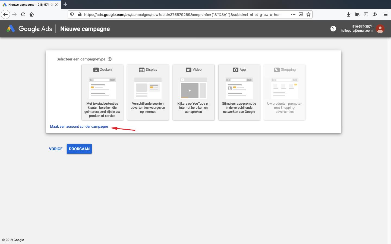 google ads account aanmaken stap 3