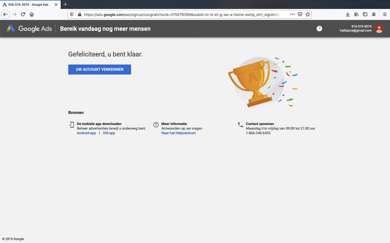 google ads account aanmaken stap 5