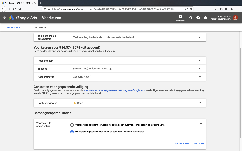 google ads account aanmaken stap 9