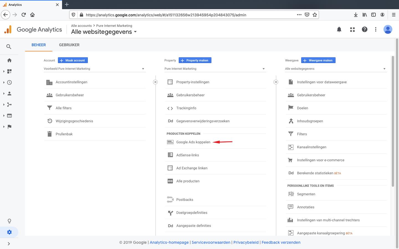 google ads koppelen aan analytics stap 2