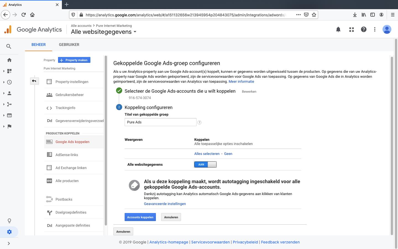 google ads koppelen aan analytics stap 4