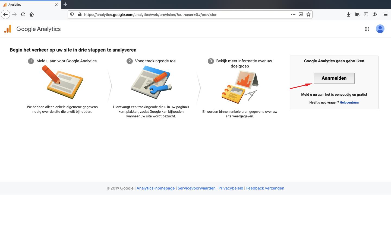 google analytics account aanmaken stap 1