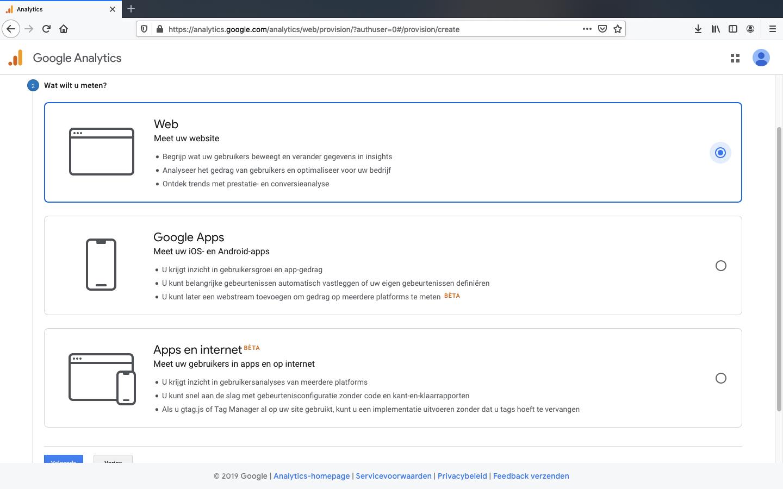 google analytics account aanmaken stap 3