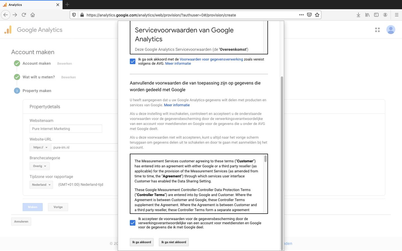 google analytics account aanmaken stap 5