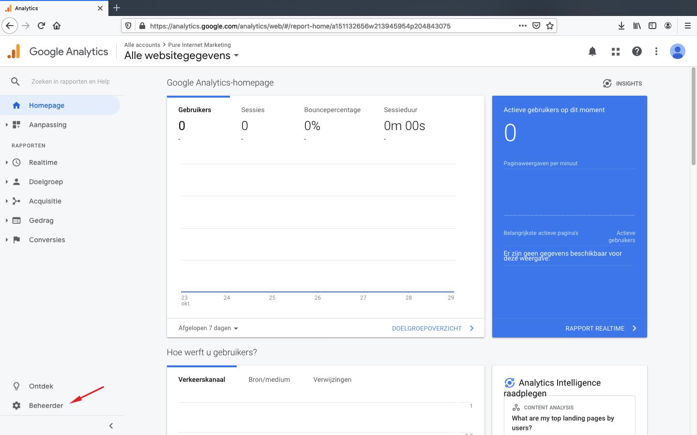 google analytics toegang verlenen stap 1