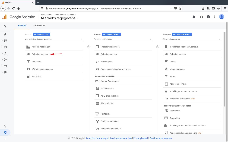 google analytics toegang verlenen stap 2