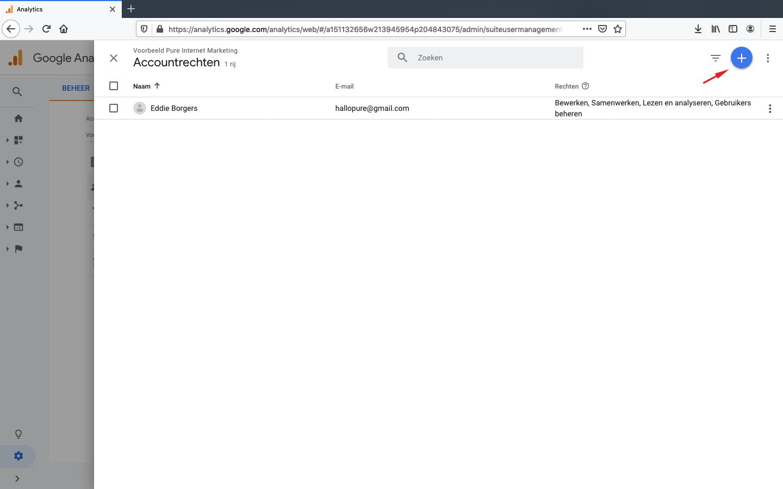 google analytics toegang verlenen stap 3