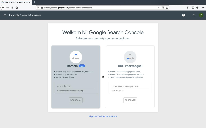 google search console aanmaken stap 1