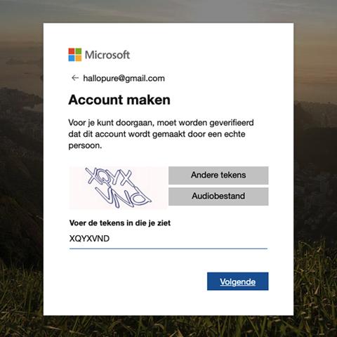 microsoft account aanmaken stap 7