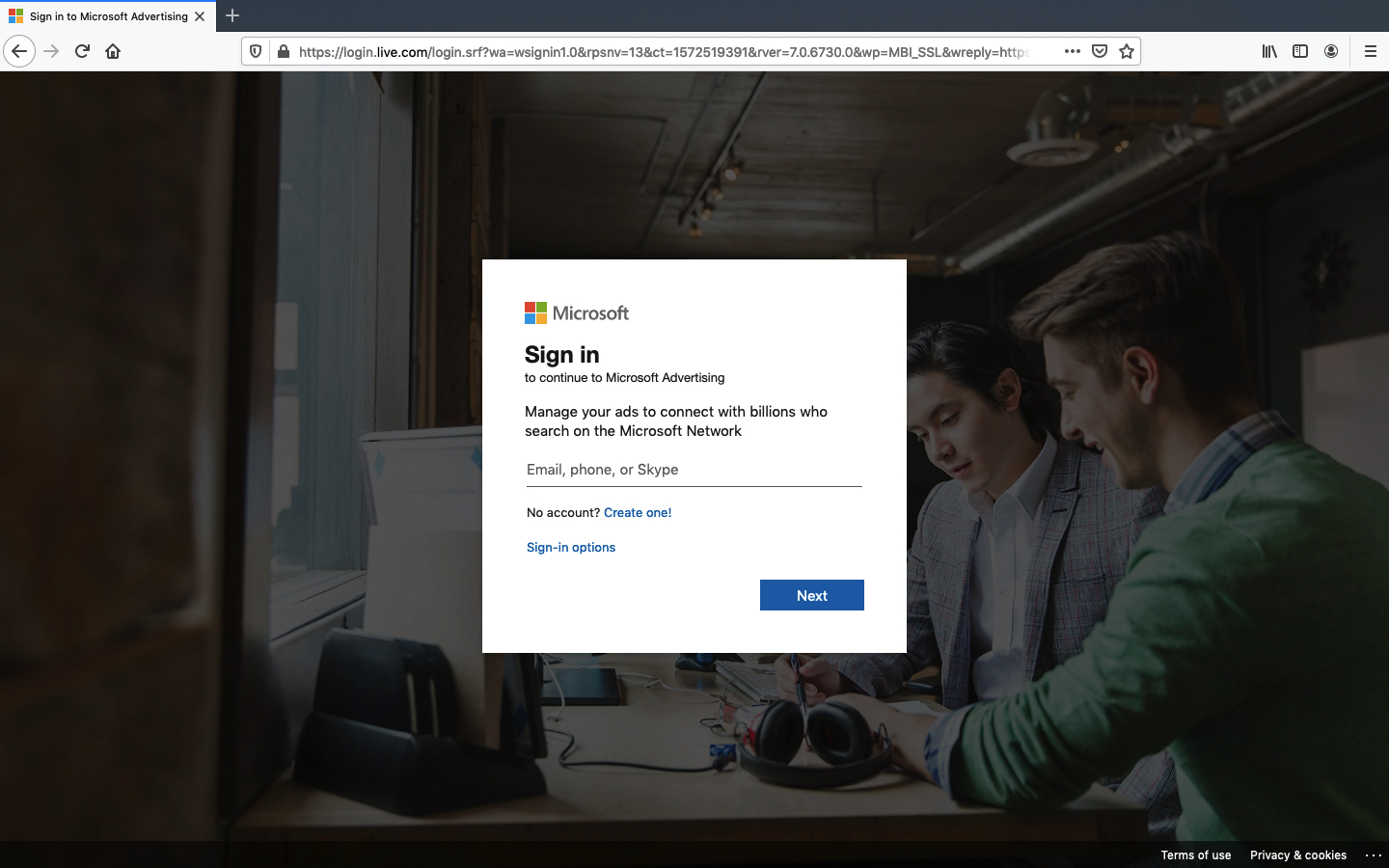 microsoft advertising account aanmaken stap 2