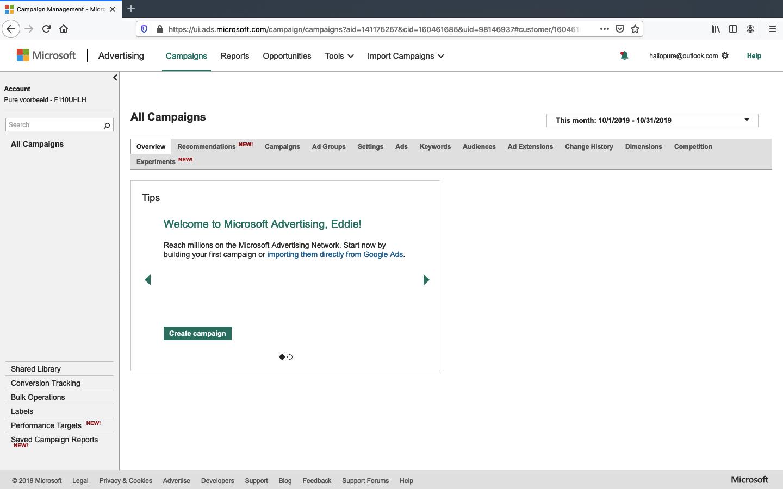 microsoft advertising account aanmaken stap 6
