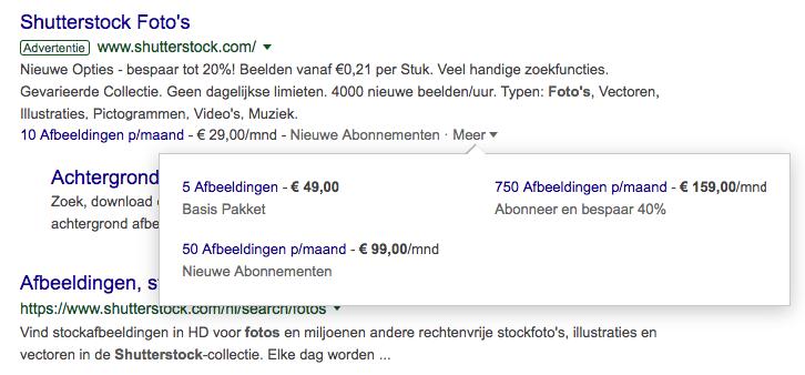 Voorbeeld prijsextensie