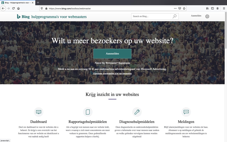 bing webmaster tools aanmaken stap 1