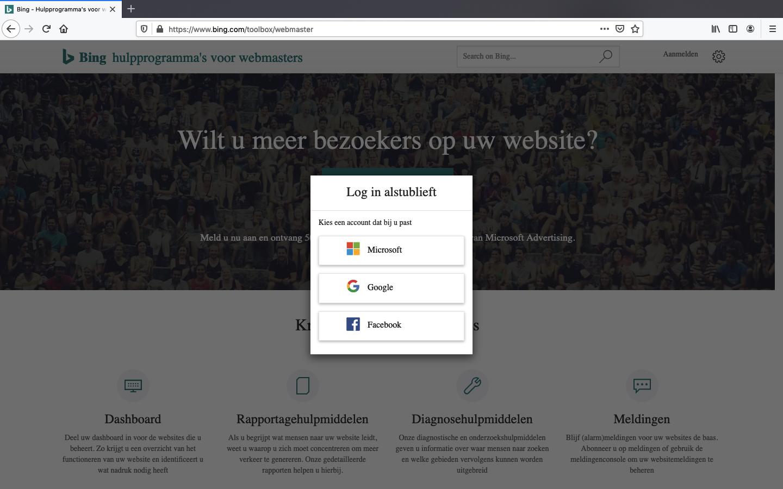 bing webmaster tools aanmaken stap 2