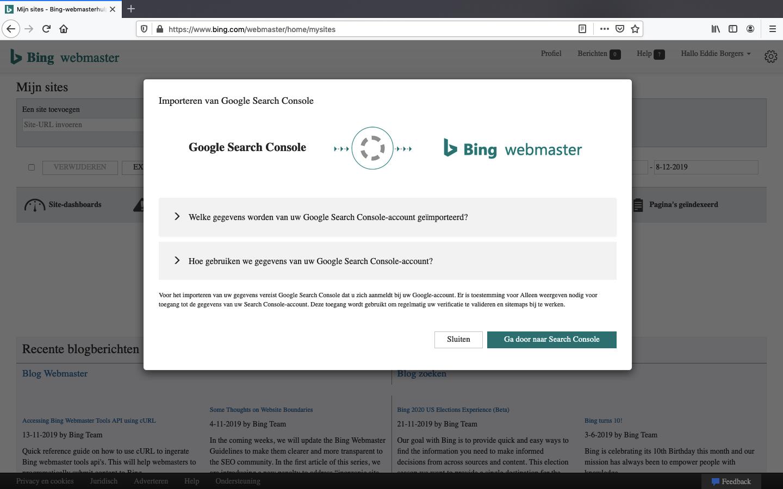 bing webmaster tools aanmaken stap 3-1
