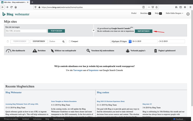 bing webmaster tools aanmaken stap 3