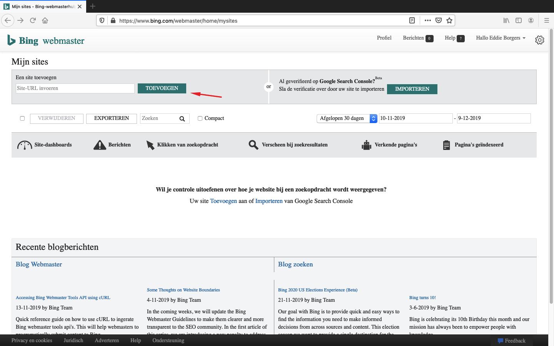 bing webmaster tools aanmaken stap 4