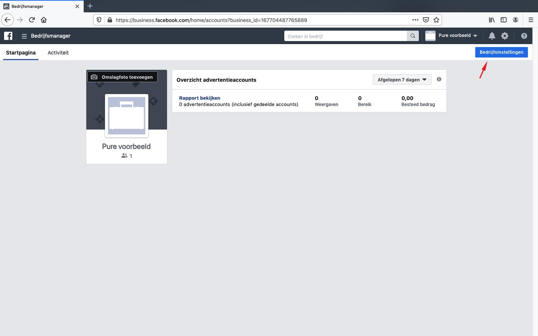 facebook bedrijfsmanager pagina koppelen stap 1