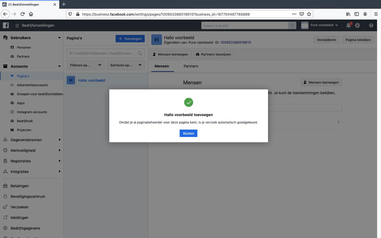 facebook bedrijfsmanager pagina koppelen stap 4