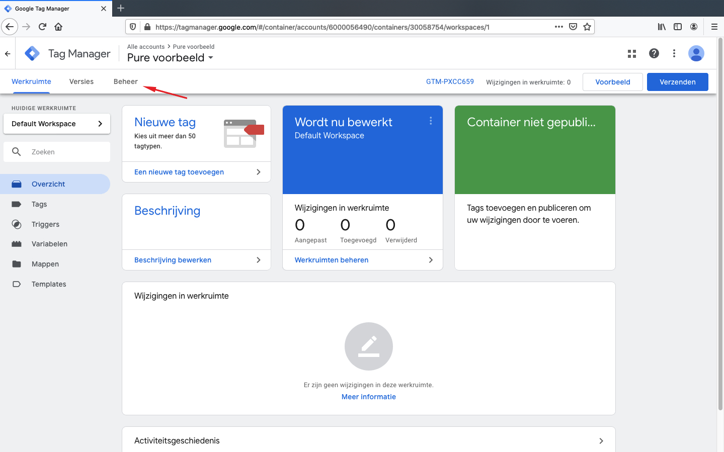 pure toegang verlenen tot google tag manager stap 2