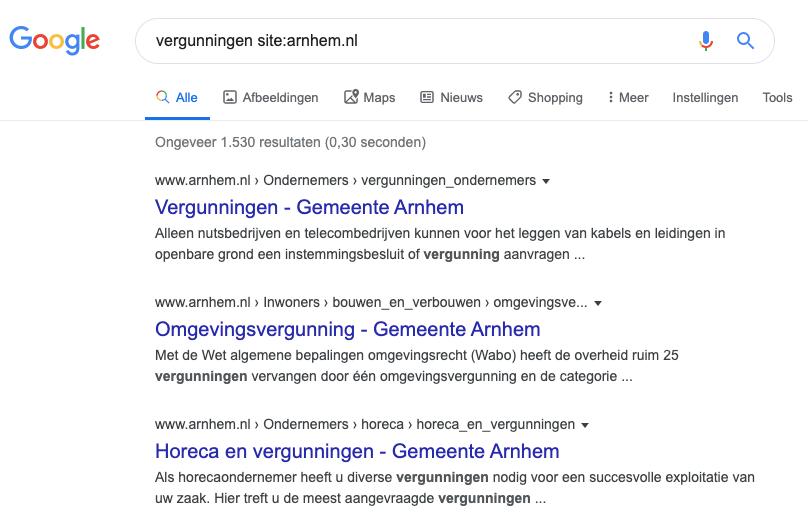 voorbeeld resultaat sitelinks searchbox