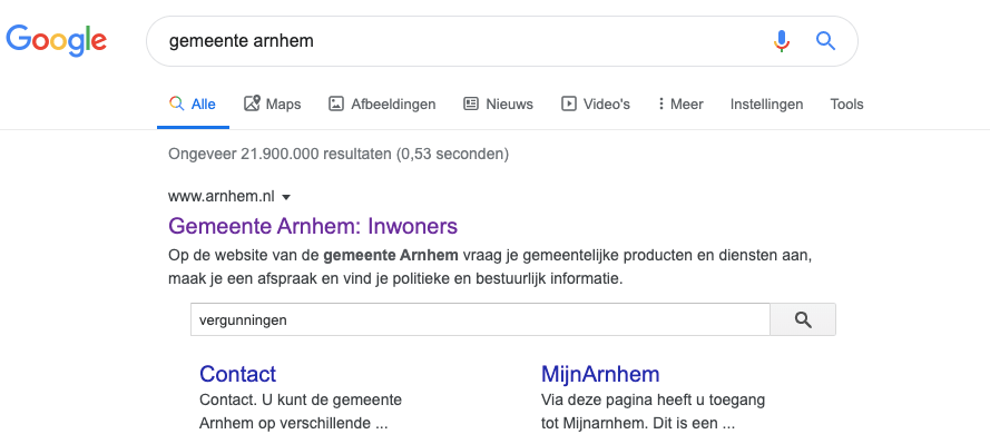 Voorbeeld sitelinks searchbox Gemeente Arnhem