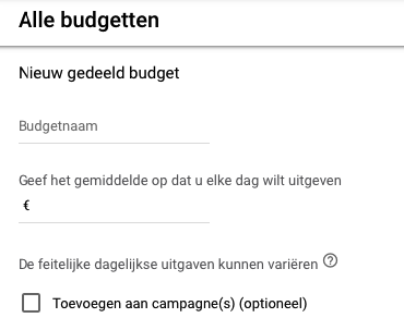 Gedeeld budget inzetten, screenshot
