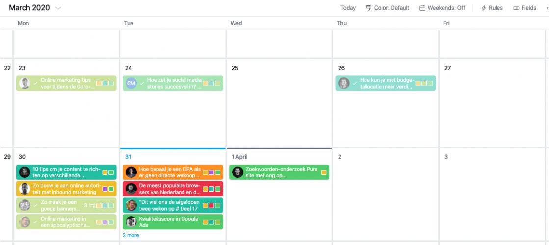 Voorbeeld van een content kalender