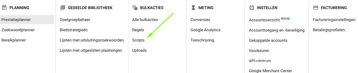 Google Ads - script toevoegen