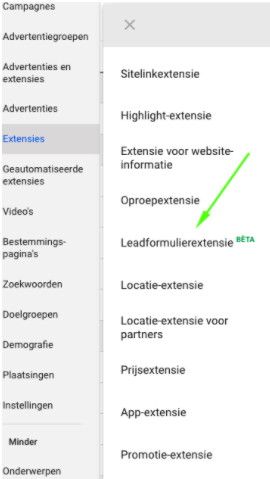 Drop down menu lead ad extensie