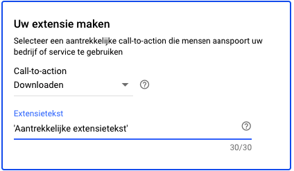 Google Ads extensie-call-to-action