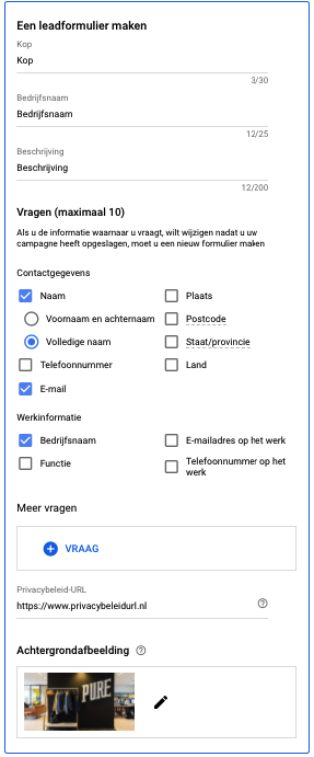 Google Ads lead form extensie