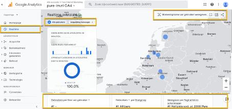 Realtime overzicht Google Analytics 4
