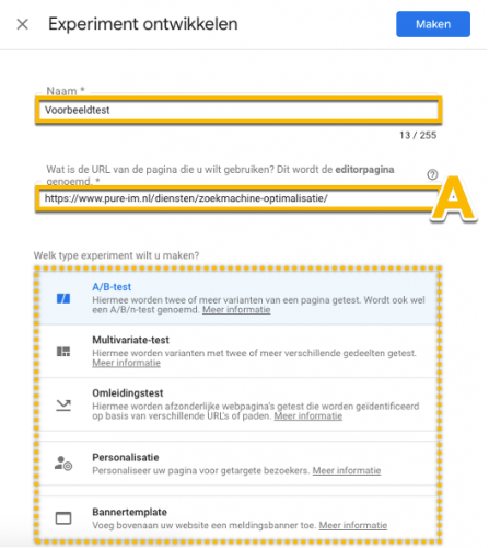 Mogelijke testen Google Optimize